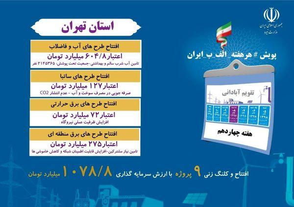 27 پروژه صنعت آب و برق استان تهران فردا افتتاح میشود