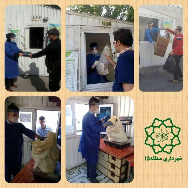 تداوم خدمات رسانی در غرفه بازیافت منطقه ۱۵ با رعایت شیوه نامه های بهداشتی