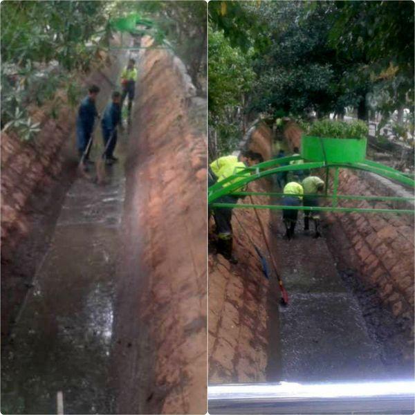 لایروبی و پاکسازی کانال میانی بلوار کشاورز