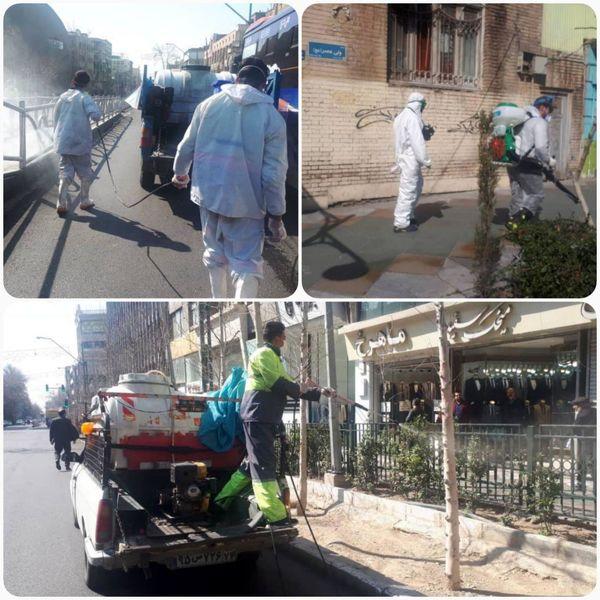 ضد عفونی و گندزدایی پهنه جنوبی خیابان ولیعصر (عج) توسط نیروهای سازمان پسماند