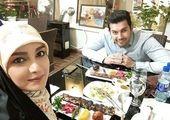 خانم مجری و همسرش+ عکس