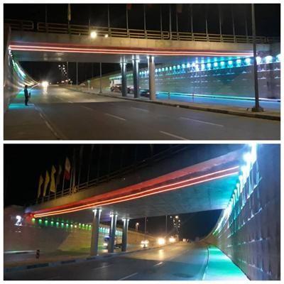 نورپردازی تقاطع غیر همسطح میدان امام حسن(ع)، همزمان با ایام مبارک دهه فجر انقلاب اسلامی
