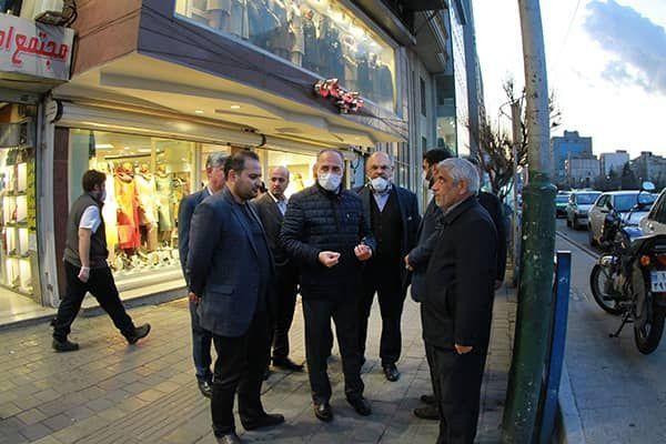بازدید مدیران شهری از پروژه بهسازی مسیرهای پیاده رو خیابان کریمخان