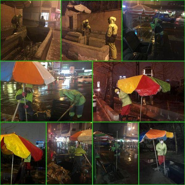 استقرار نیروهای خدمات شهری منطقه۶در زمان بارش نزولات جوی