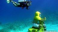 سفر در اعماق دریا با موتورسیکلت! +عکس