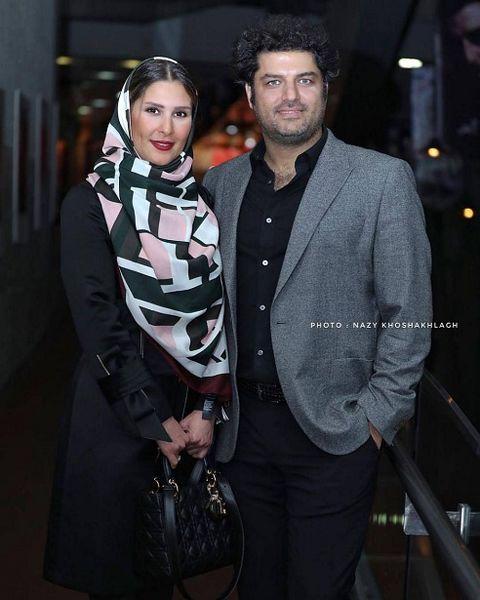 مدل موهای عجیب و غریب آقای بازیگر مشهور در کنار همسرش +عکس